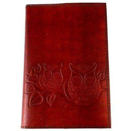 "Owls on a Twig"" Embossed Leather Journal - Matr Boomie CoolHatcher at TheArtOfLiving.Earth"