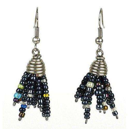 Black Maasai Beaded Spike Earrings - Zakali Creations CoolHatcher at TheArtOfLiving.Earth