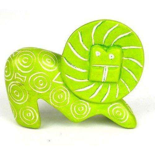 Handcrafted Mini Soapstone Funky Lion Sculpture in Lime - Smolart CoolHatcher at TheArtOfLiving.Earth