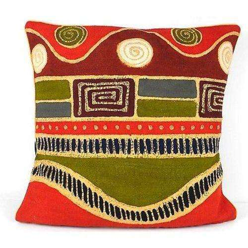 Handmade Geometric Wave Batik Cushion Cover - Tonga Textiles CoolHatcher at TheArtOfLiving.Earth