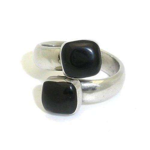 Two Stone Onyx Wrap Ring - Artisana CoolHatcher at TheArtOfLiving.Earth