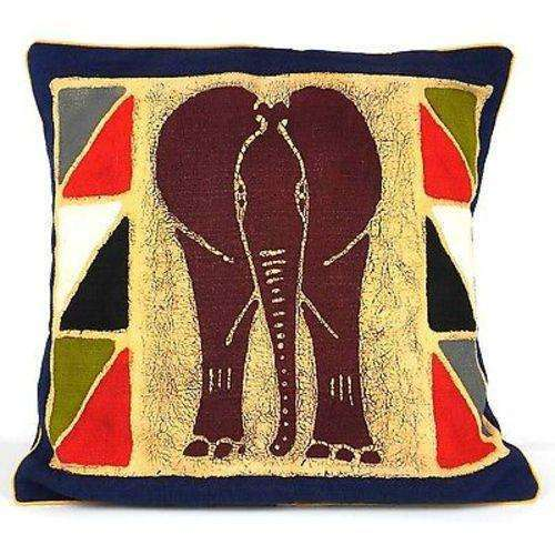 Handmade Colorful Elephant Batik Cushion Cover - Tonga Textiles CoolHatcher at TheArtOfLiving.Earth