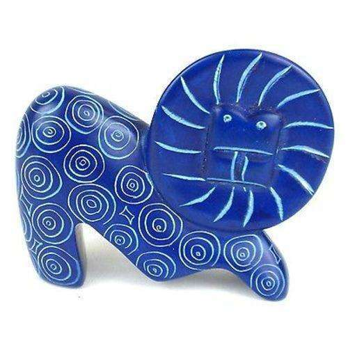 Handcrafted Mini Soapstone Funky Lion Sculpture in Blue - Smolart CoolHatcher at TheArtOfLiving.Earth