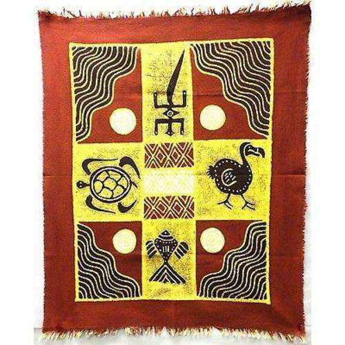 Four Creatures Batik in Red/Maroon - Tonga Textiles CoolHatcher at TheArtOfLiving.Earth