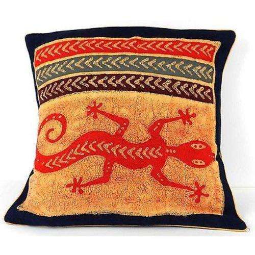 Handmade Colorful Lizard Cushion Cover - Tonga Textiles CoolHatcher at TheArtOfLiving.Earth