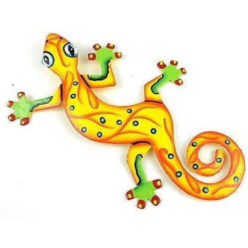 Eight Inch Sunshine Yellow Metal Gecko - Caribbean Craft CoolHatcher at TheArtOfLiving.Earth