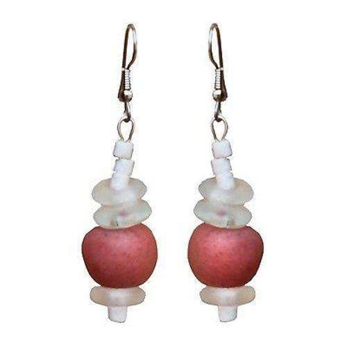 Recycled Pink Poppy Glass Abacus Earrings - Global Mamas CoolHatcher at TheArtOfLiving.Earth