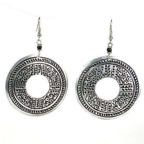 Stamped Recycled Cooking Pot 'Open Medallion' Earrings - Zakali Creations CoolHatcher at TheArtOfLiving.Earth