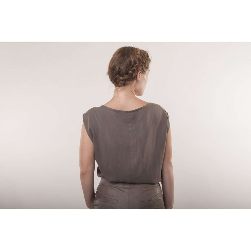 Brown top two tone blouse CoolHatcher at TheArtOfLiving.Earth