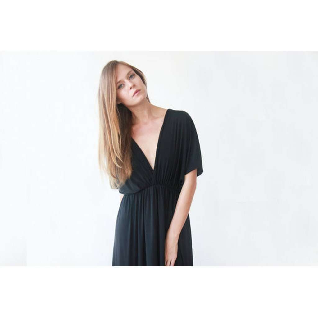 Black formal batwing sleeves maxi dress CoolHatcher at TheArtOfLiving.Earth