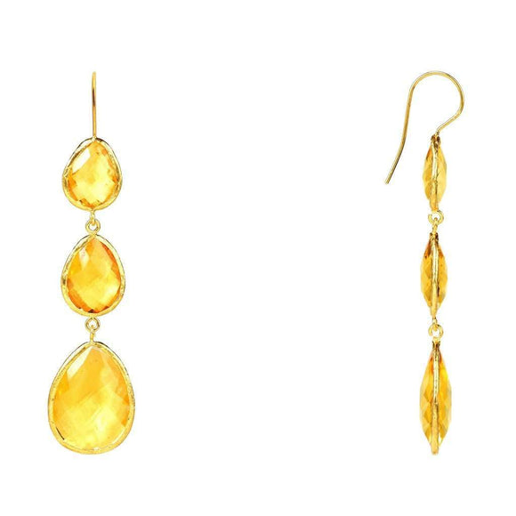 Gold Triple Drop Earring Citrine Hydro CoolHatcher at TheArtOfLiving.Earth
