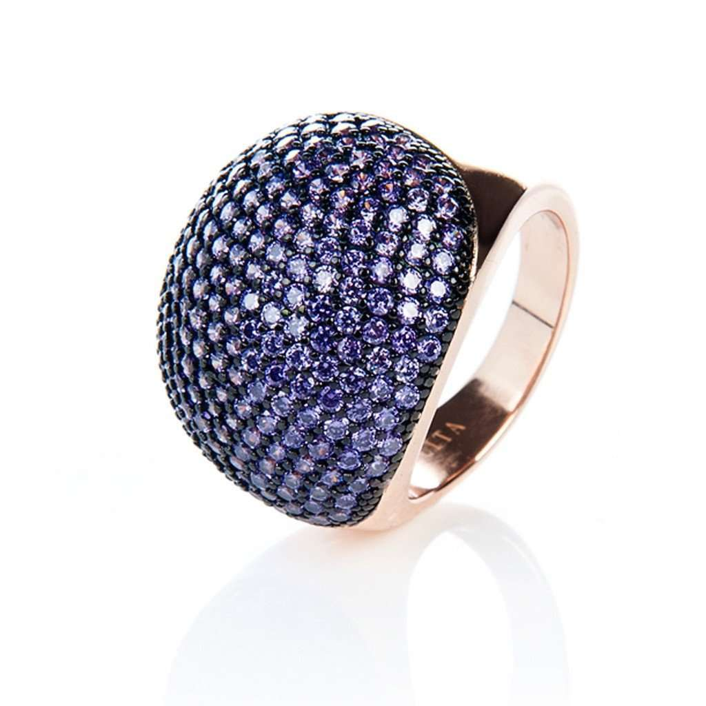 22ct Rose Gold Vermeil Micro pave Ball Ring - Purple Zircon CoolHatcher at TheArtOfLiving.Earth