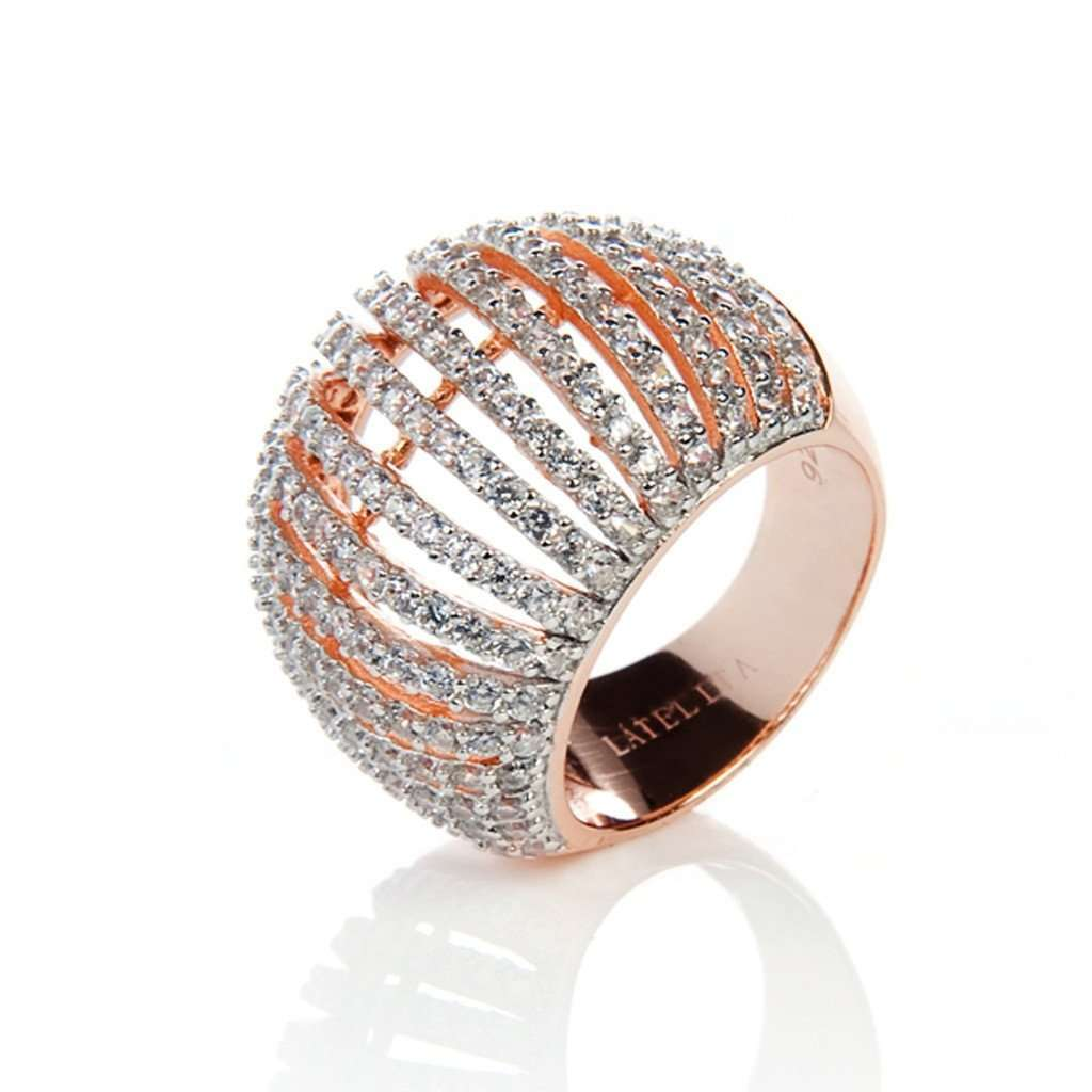 22ct Rose Gold Vermeil Micro pave Comb Ring - White Zircon CoolHatcher at TheArtOfLiving.Earth