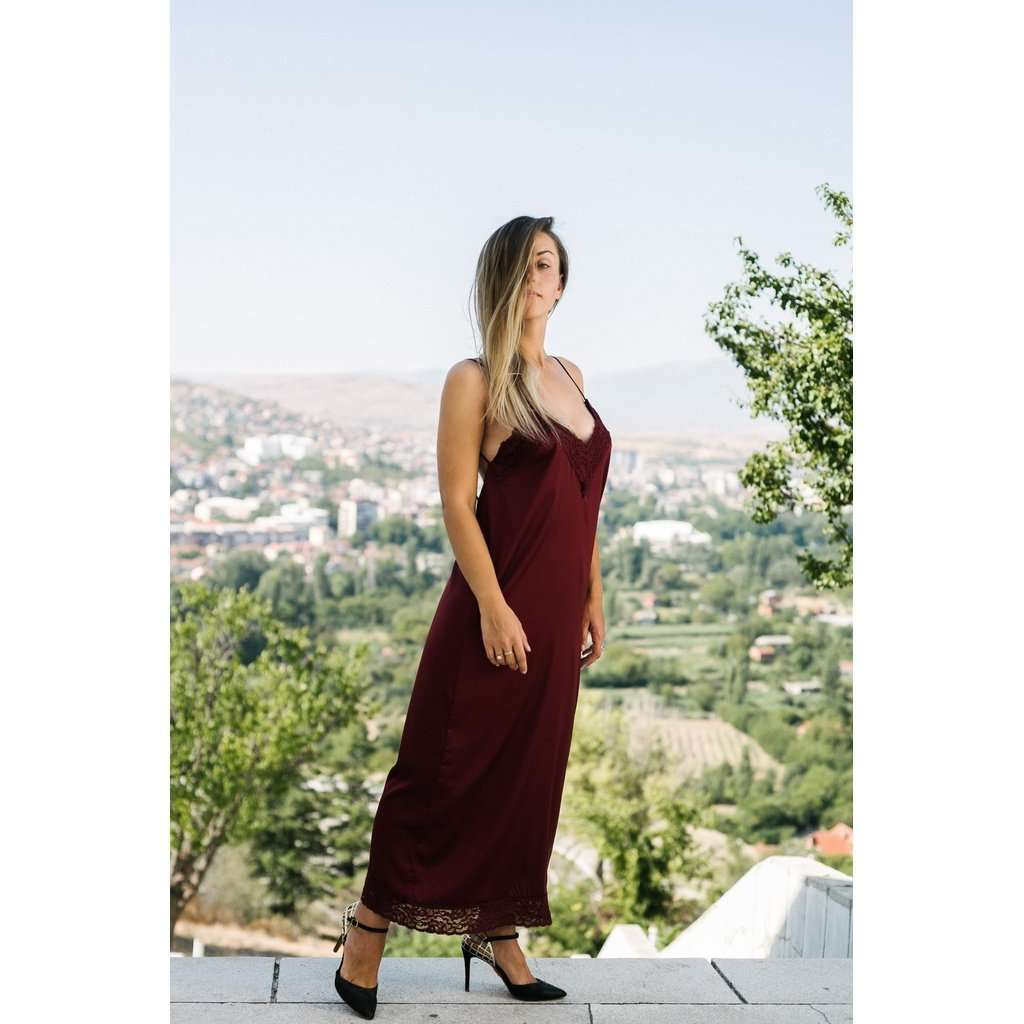 Bareback burgundy dress CoolHatcher at TheArtOfLiving.Earth