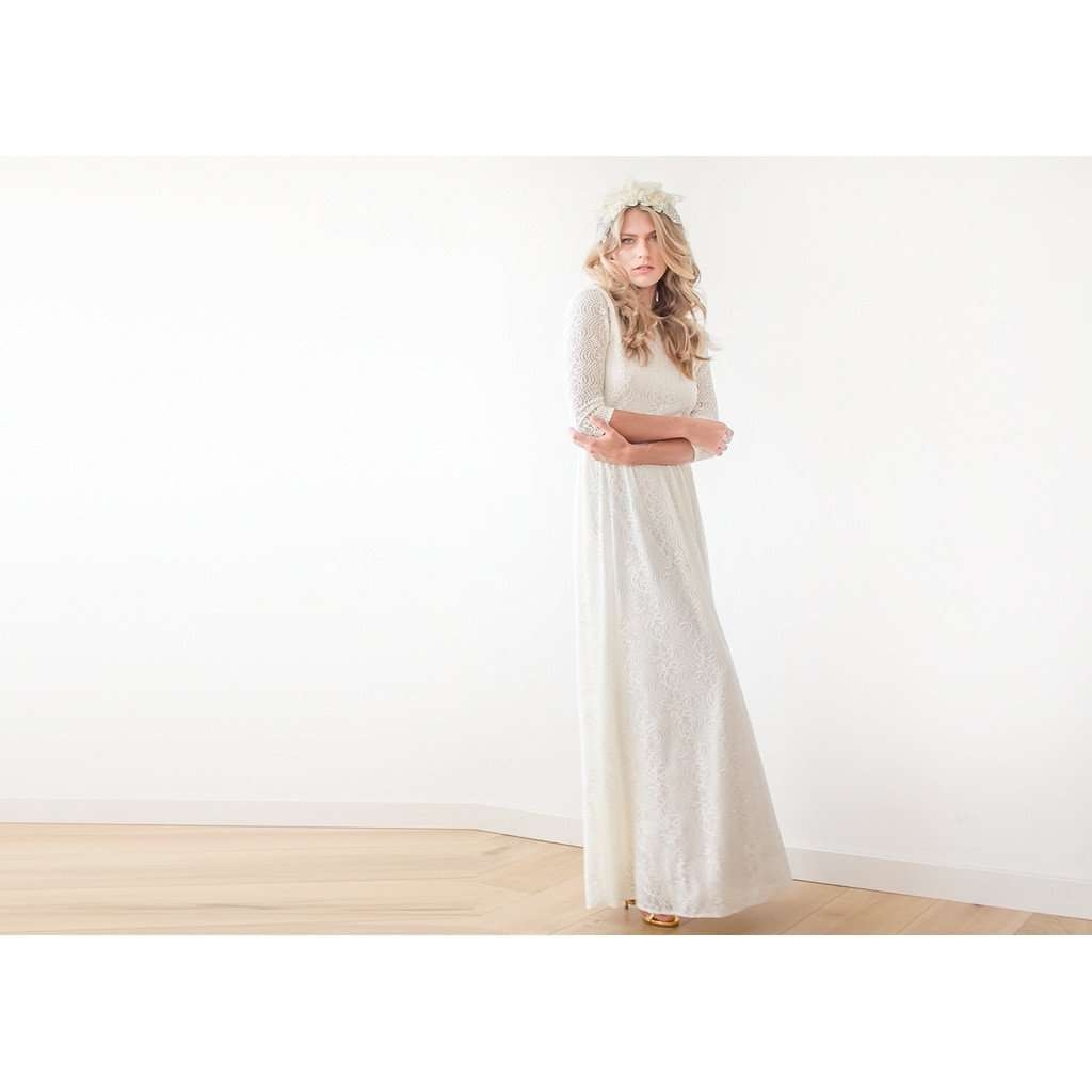 Bordeaux Floral lace Maxi Gown With Open-Back CoolHatcher at TheArtOfLiving.Earth