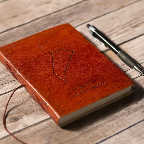 Leo Zodiac Handmade Leather Journal CoolHatcher at TheArtOfLiving.Earth