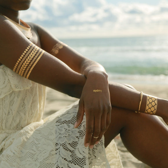 Silver and Gold Greek Bracelets and Wings Metallic Temporary Tattoo CoolHatcher at TheArtOfLiving.Earth