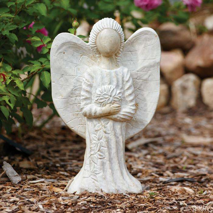 Stone Garden Angel Sculpture CoolHatcher at TheArtOfLiving.Earth