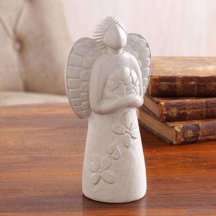 Small Stone Garland Angel Sculpture