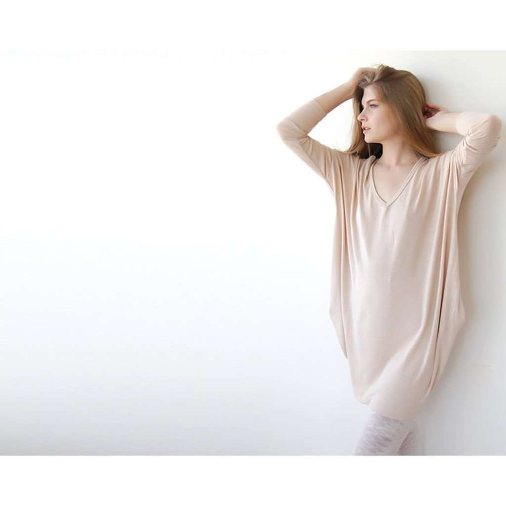 Knitted blush pink long sleeves mini dress with pockets SALE