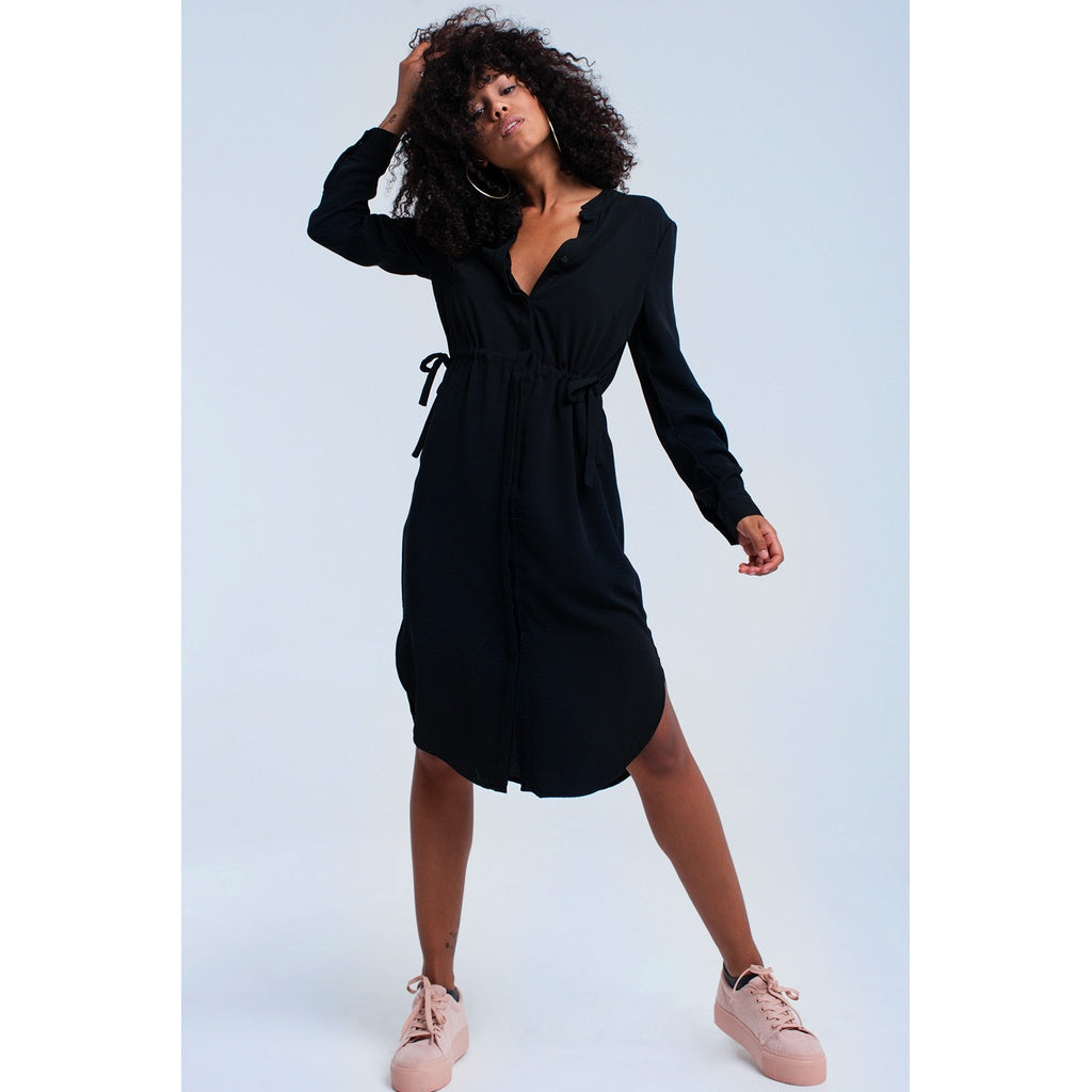 Black midi dress with laces CoolHatcher at TheArtOfLiving.Earth