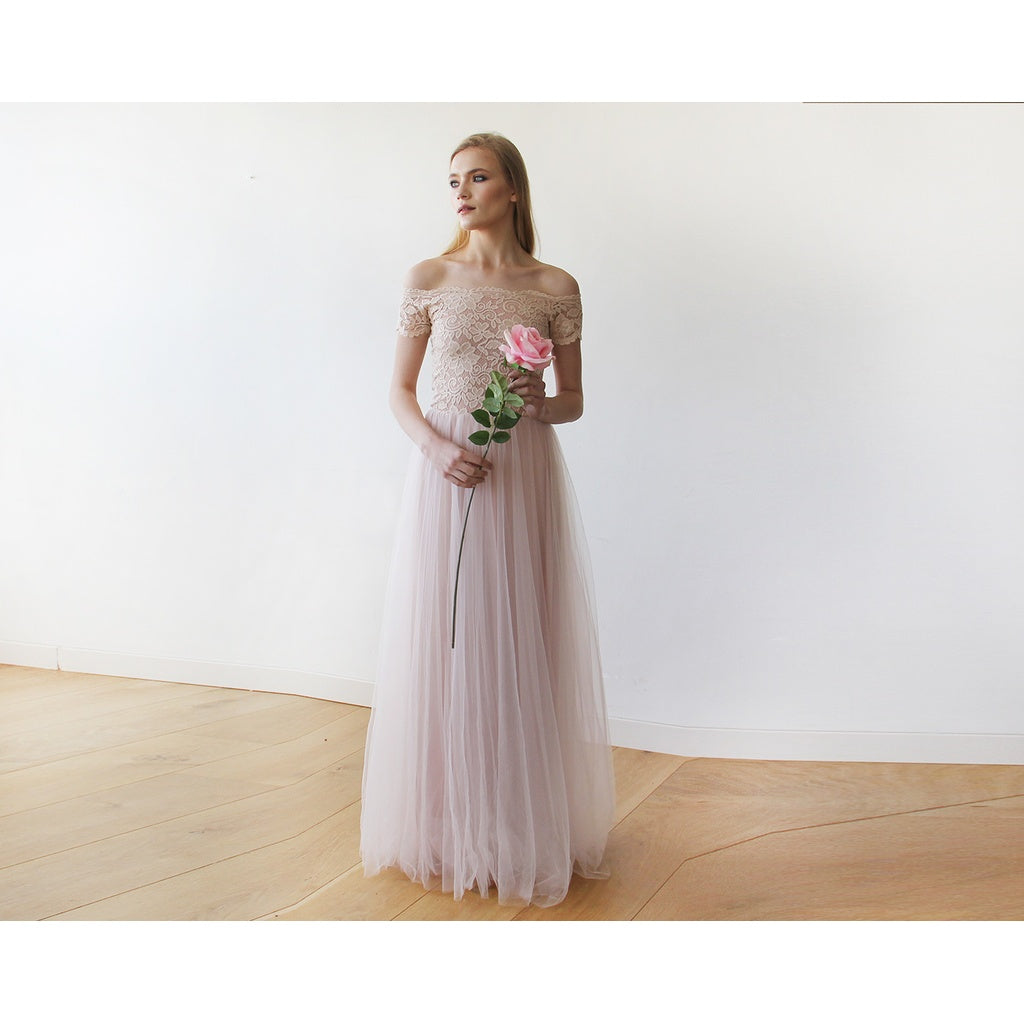 b8ee1c24e73b Earth · Lace off-shoulders short sleeves maxi blush tulle dress 1139  CoolHatcher at TheArtOfLiving.
