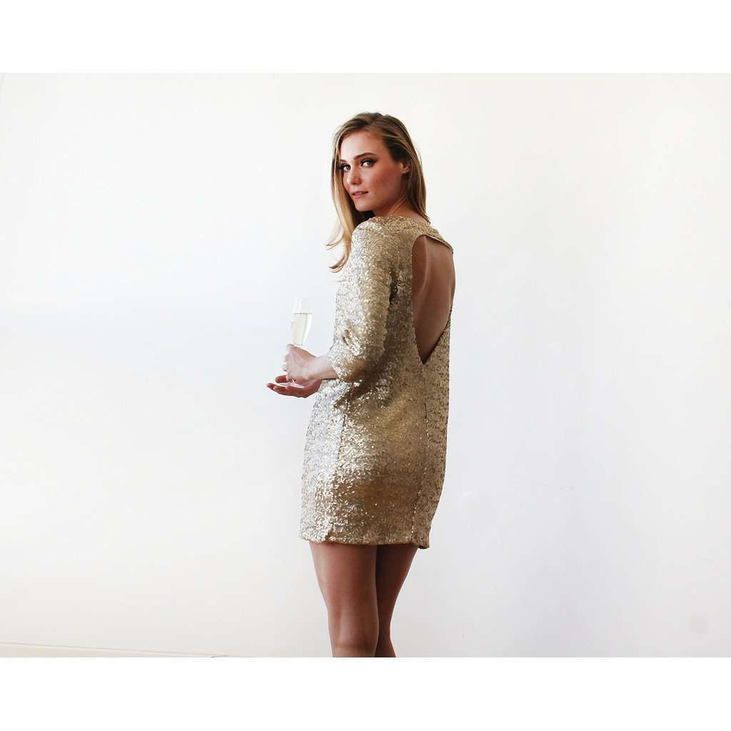 Swanky gold sequins dress with open back CoolHatcher at TheArtOfLiving.Earth
