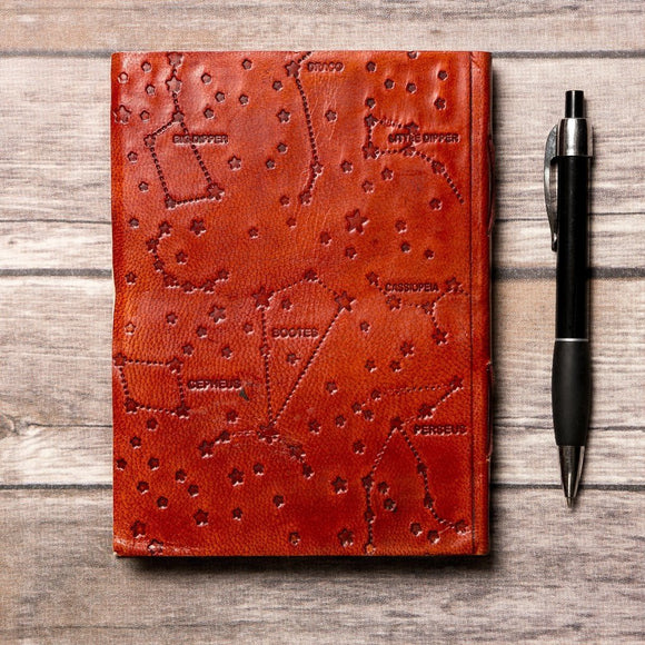 Virgo Zodiac Handmade Leather Journal CoolHatcher at TheArtOfLiving.Earth