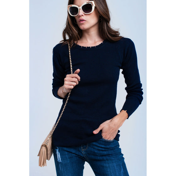 Navy sweater with little cuts CoolHatcher at TheArtOfLiving.Earth
