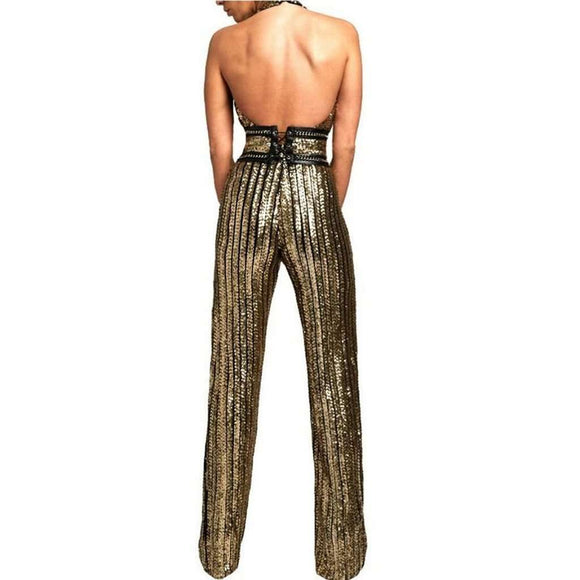 Gold Sequin Striped Jumpsuit CoolHatcher at TheArtOfLiving.Earth