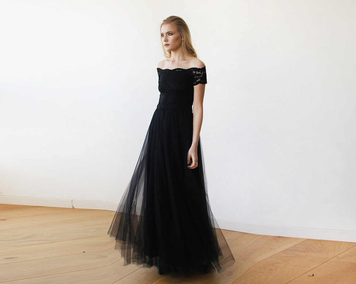 Black Lace Off-the-Shoulder Short Sleeve Tulle Maxi Dress 1139 CoolHatcher at TheArtOfLiving.Earth