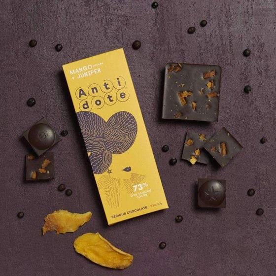 Antidote Chocolate - Hybris: Mango+Juniper 73% with slow roasted cacao CoolHatcher at TheArtOfLiving.Earth