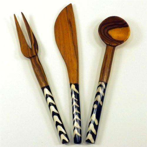 Olive Wood 3 Piece Appetizer Set - Jedando Handicrafts CoolHatcher at TheArtOfLiving.Earth