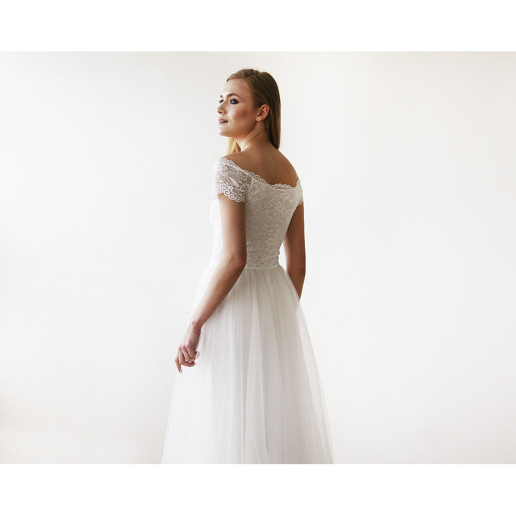 bfedd08c831d ... Ivory Off-The-Shoulder Short Sleeves Lace Maxi Tulle Gown 1139  CoolHatcher at TheArtOfLiving