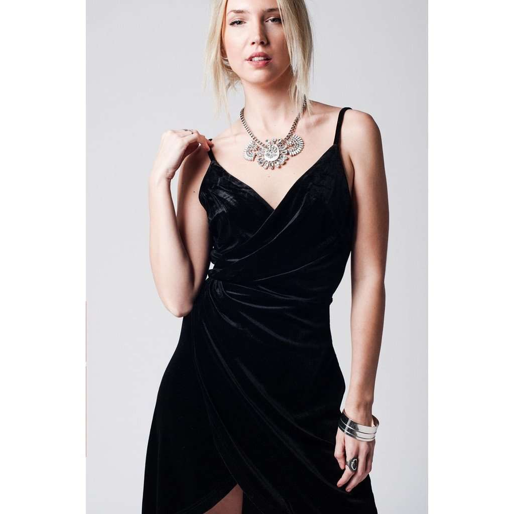 Black cross front velvet dress with elastic waist CoolHatcher at TheArtOfLiving.Earth