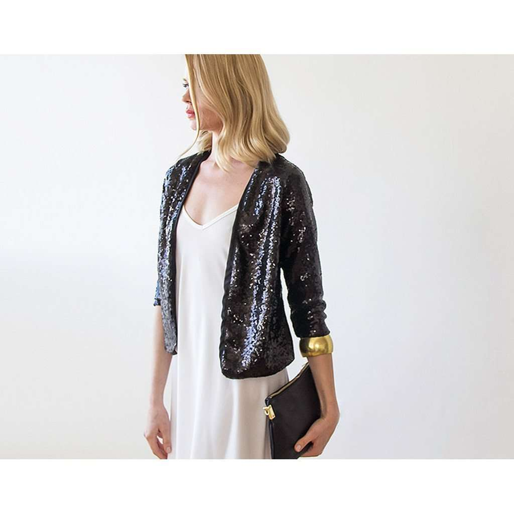 Black Sequin long sleeves sparkling jacket CoolHatcher at TheArtOfLiving.Earth