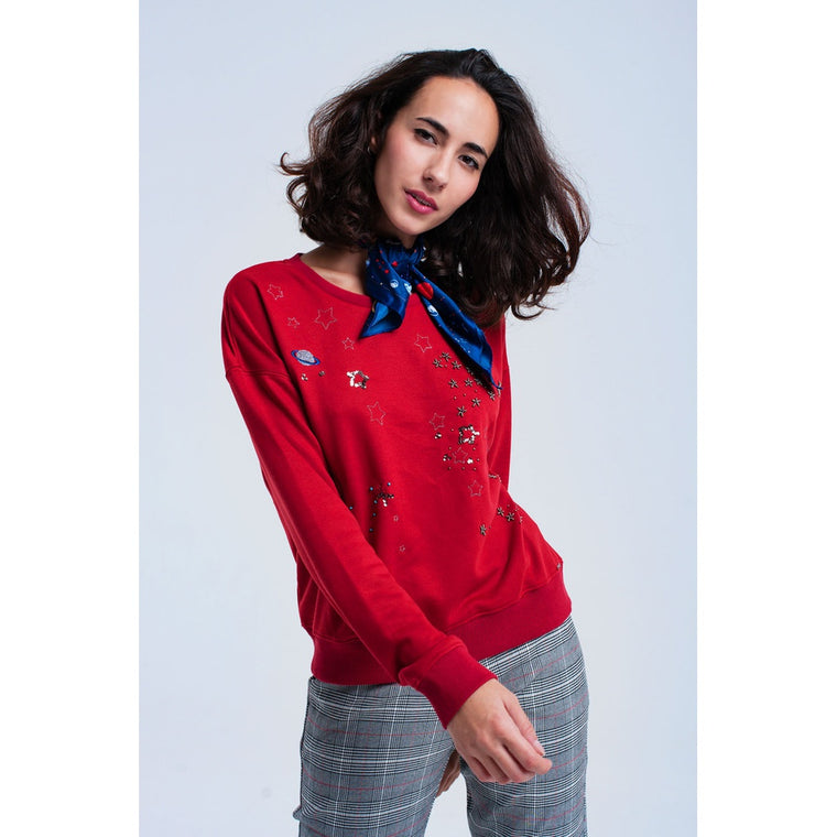 Red sweatshirt with beads CoolHatcher at TheArtOfLiving.Earth