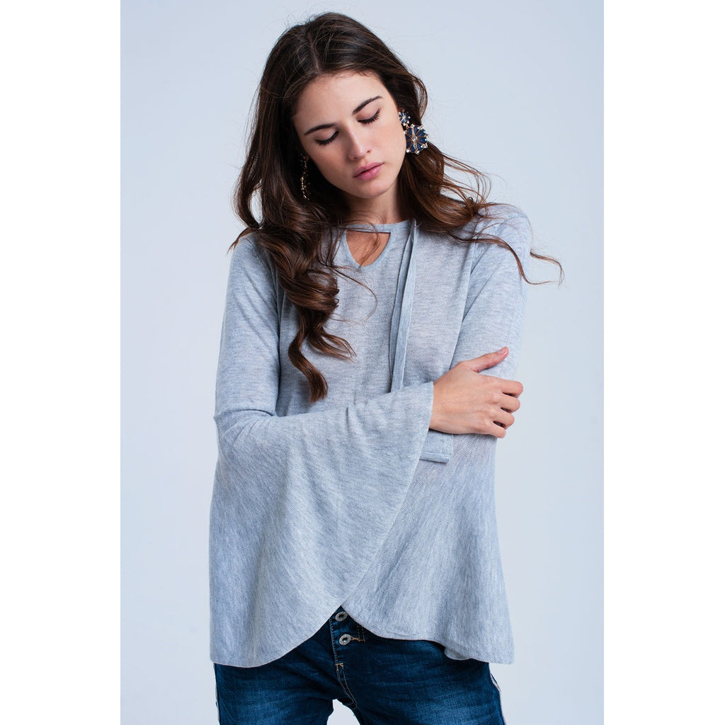 Gray sweater with bell sleeves CoolHatcher at TheArtOfLiving.Earth
