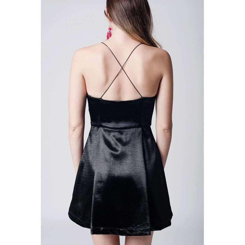 Black mini plunge halter cross back dress CoolHatcher at TheArtOfLiving.Earth