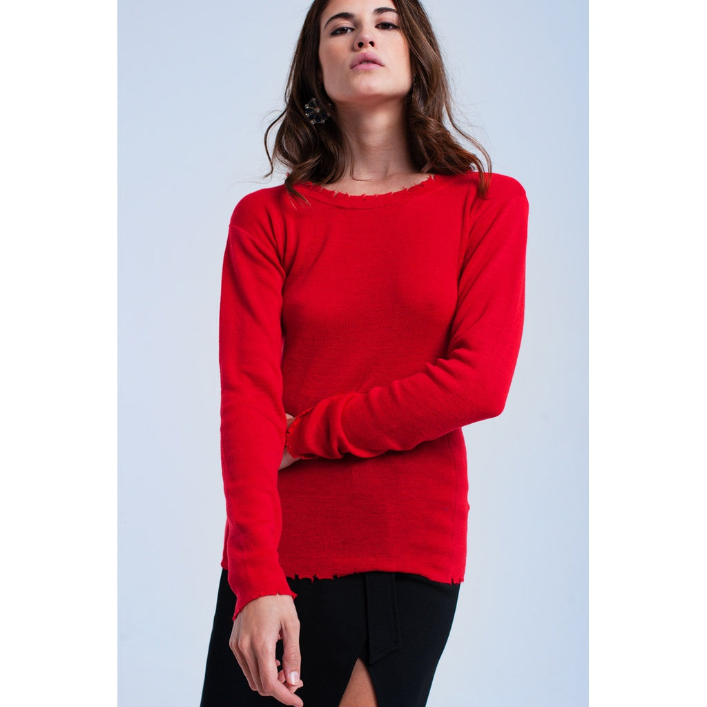 Red sweater with little cuts CoolHatcher at TheArtOfLiving.Earth