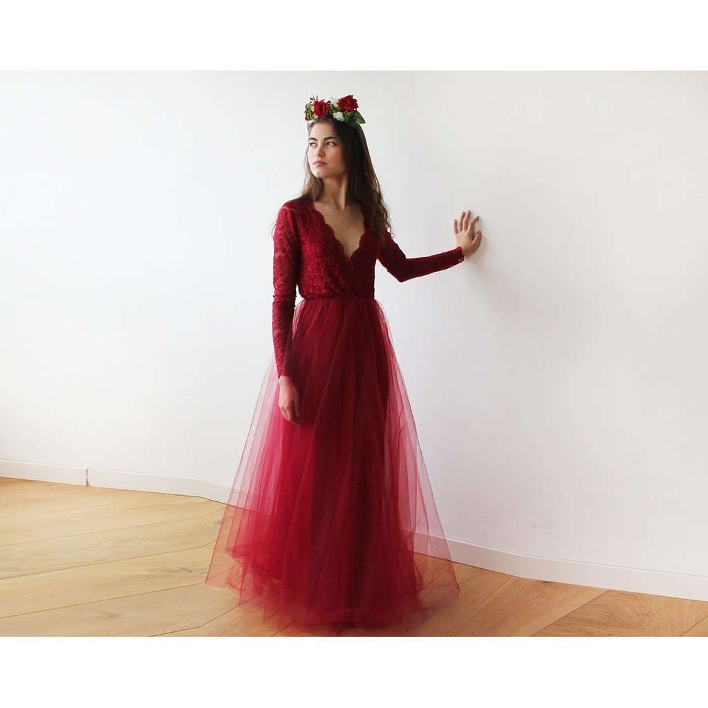 Bordeaux Tulle and Lace Long Sleeves Gown