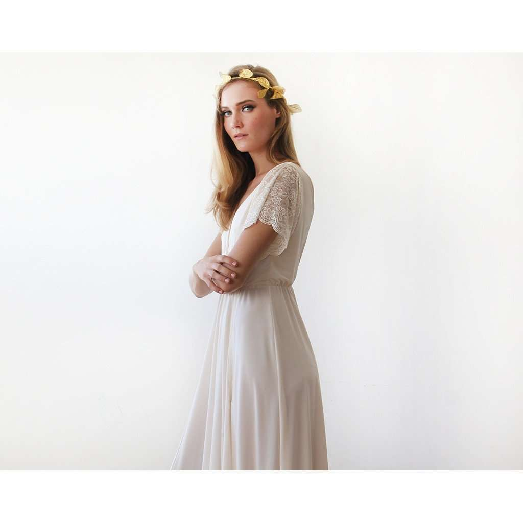 Champange wrap maxi dress with sort lace sleeves CoolHatcher at TheArtOfLiving.Earth