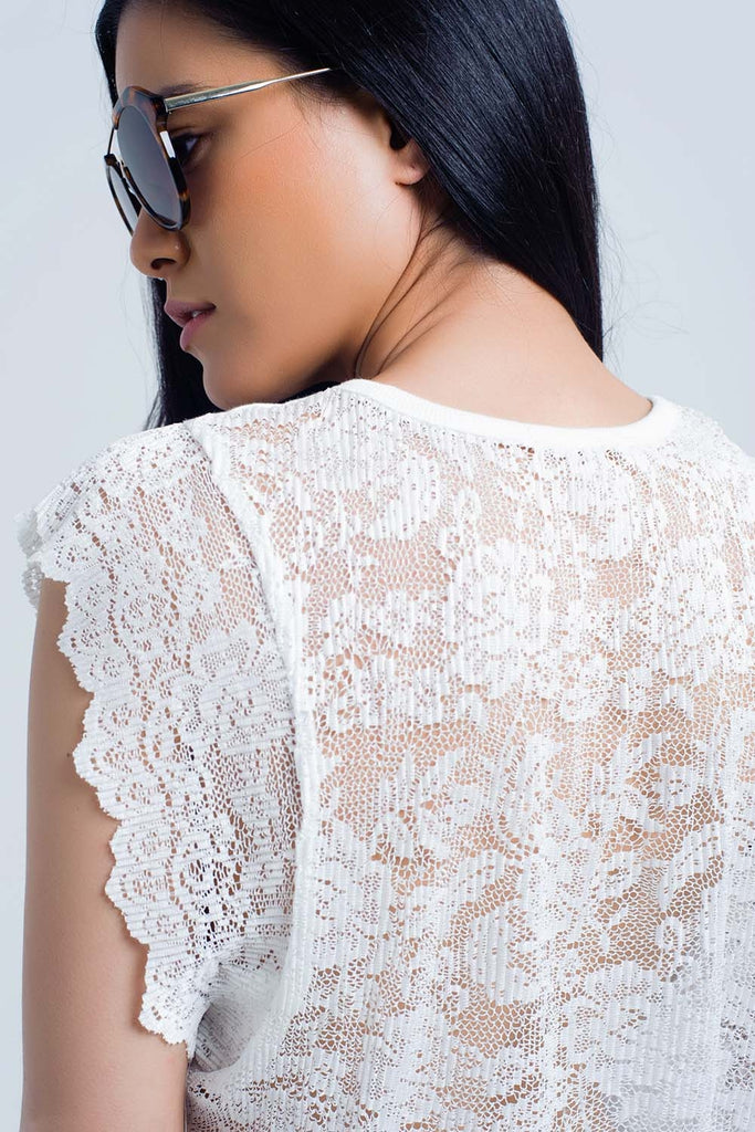 White top with lace back and ruffles CoolHatcher at TheArtOfLiving.Earth