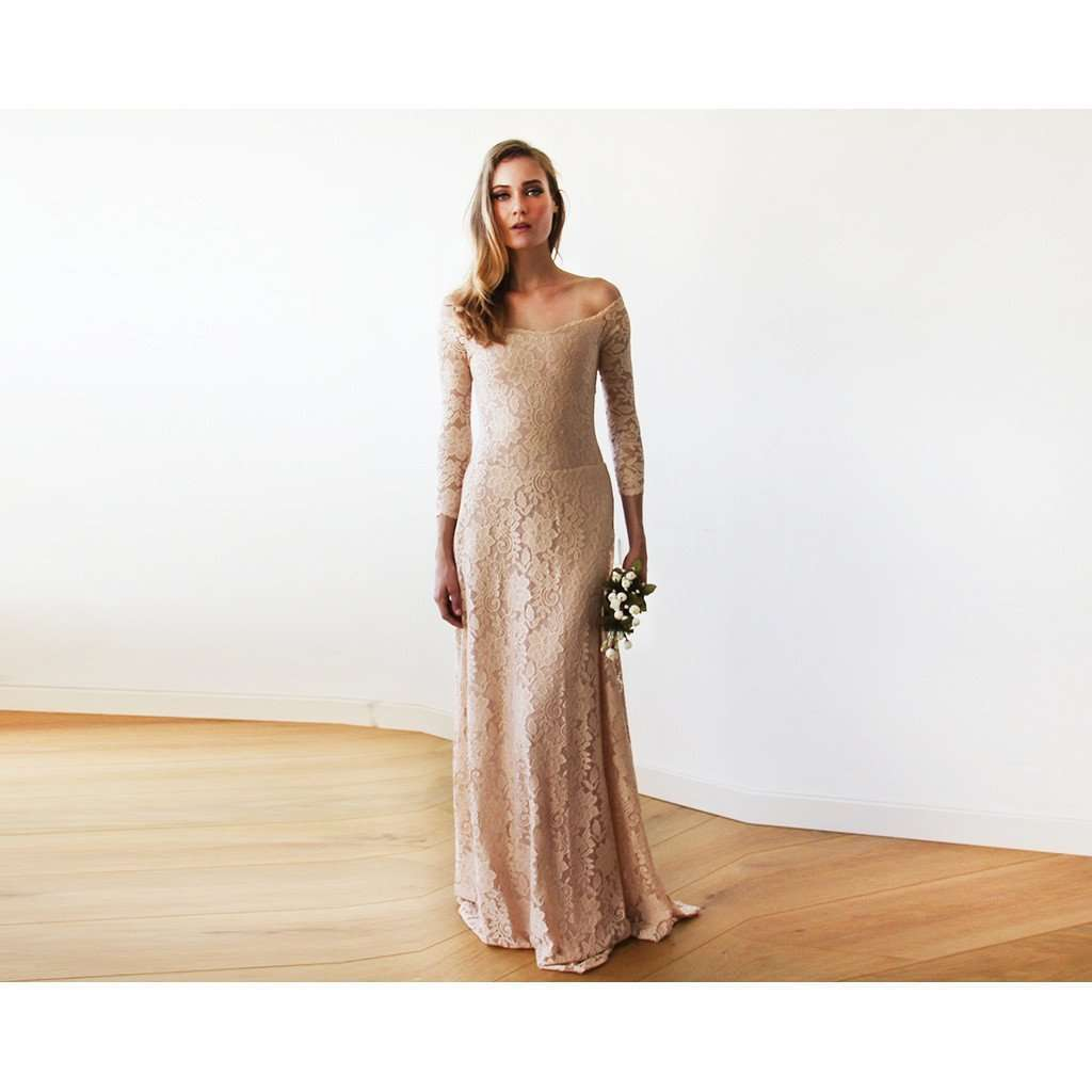 Off-The-Shoulder Blush Pink Floral Lace Long Sleeve Maxi Dress CoolHatcher at TheArtOfLiving.Earth