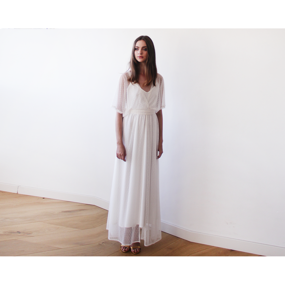 Ivory Sheer Dotted Chiffon Maxi Dress with Bat Wings Sleeves 1047 CoolHatcher at TheArtOfLiving.Earth
