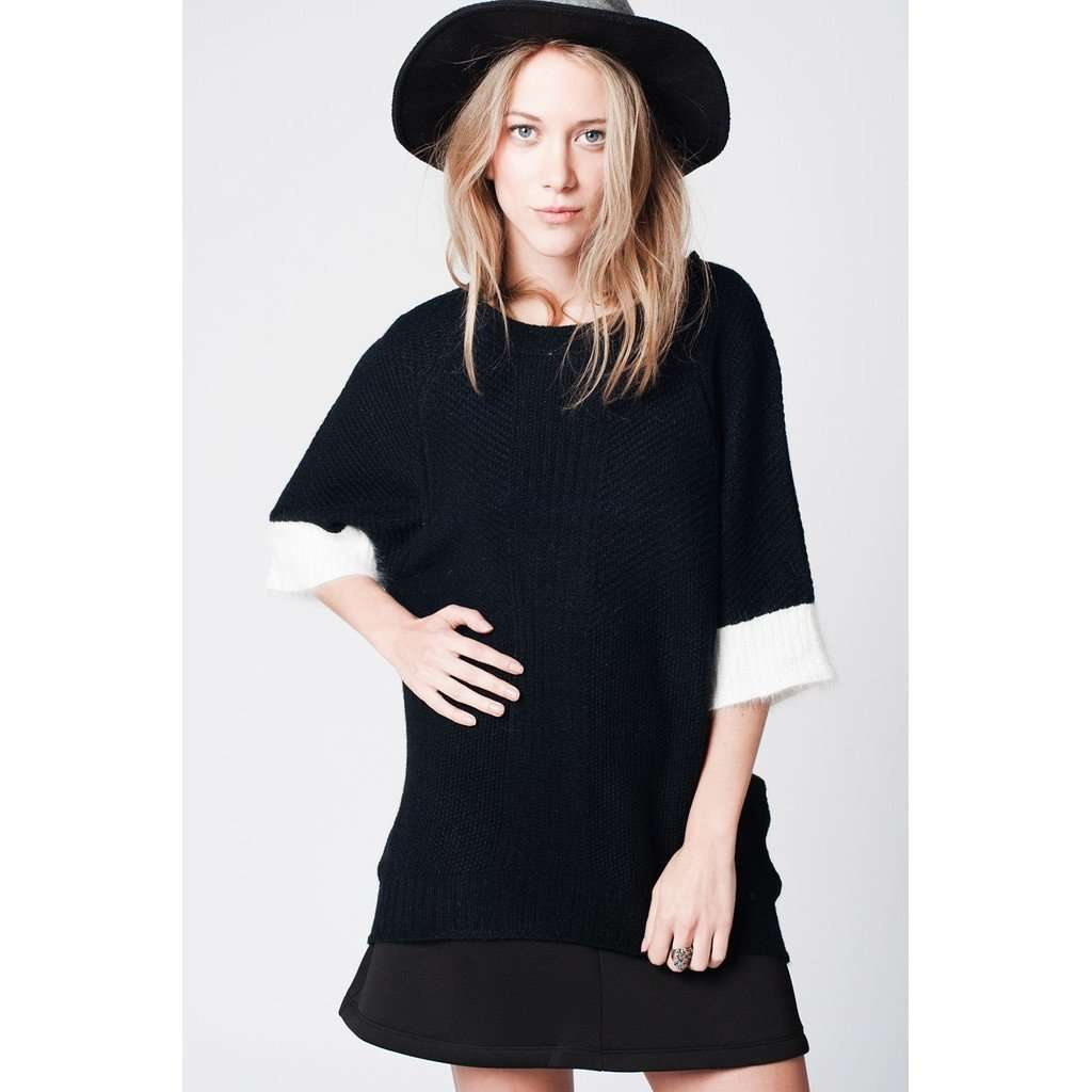Black sweater in angora mix with 3/4 sleeves and white contrast trim CoolHatcher at TheArtOfLiving.Earth