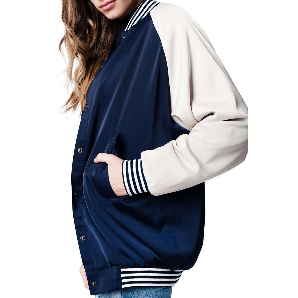 Blue Silky Bomber Jacket CoolHatcher at TheArtOfLiving.Earth