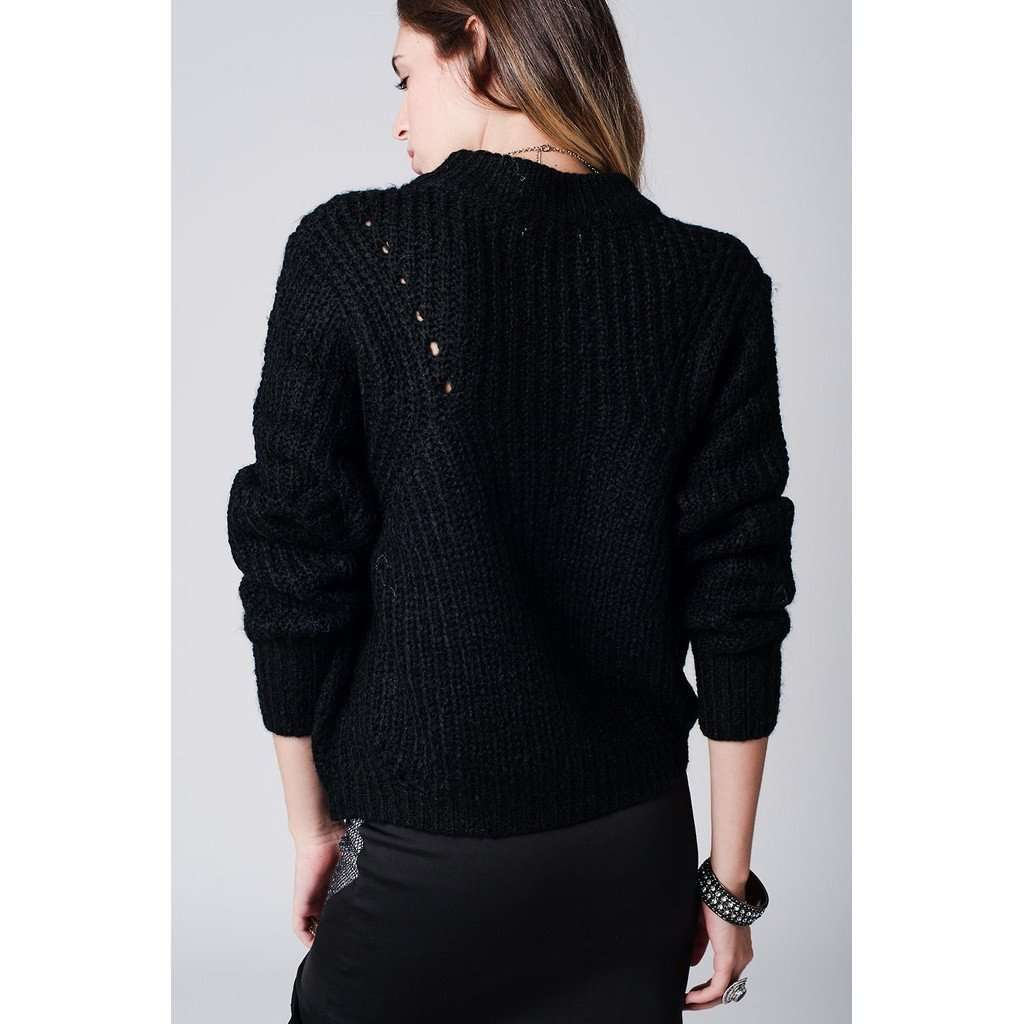 Black chunky knit jersey  with  cut details CoolHatcher at TheArtOfLiving.Earth