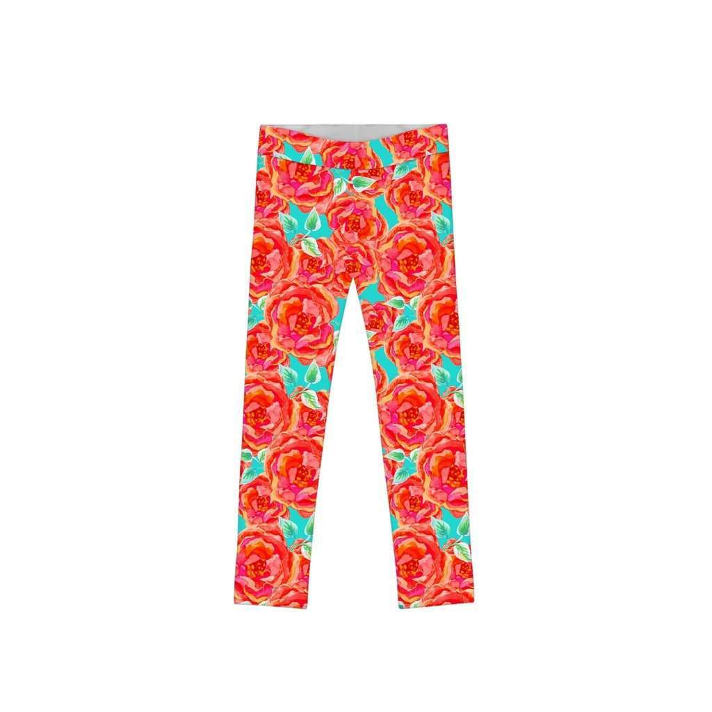 Oh So Sassy Lucy Cute Orange Floral Printed Leggings - Girls CoolHatcher at TheArtOfLiving.Earth
