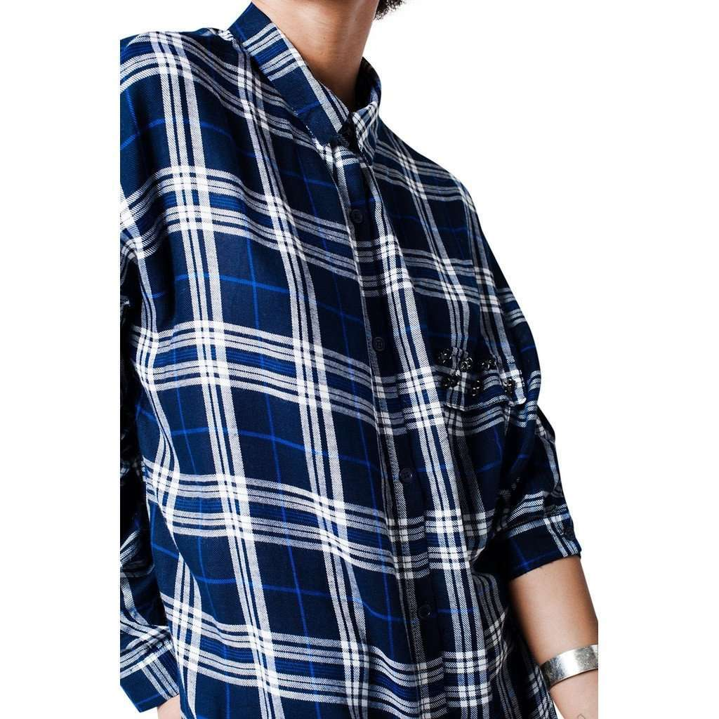 Checked navy blue shirt with chest pocket detail CoolHatcher at TheArtOfLiving.Earth